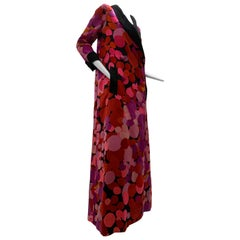 1960 Norman Norell Silk Satin Abstract Polka Dot Maxi Opera Coat