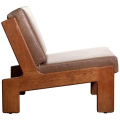 1960, Oak and Leather Cubist Lounge Chair by Esko Pajamies for Asko Finland