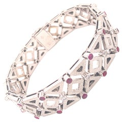 1960 One-of-a-Kind Ruby White Diamond White Gold Solid Handcrafted Bracelet