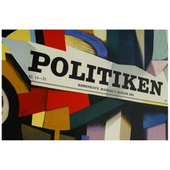 1960 Original Danish Abstract Poster Politiken by Ib Andersen Lithograph Diptych