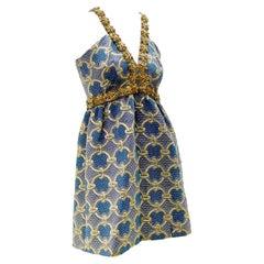 1960 Oscar De La Renta Brocade Minidress w/ Heavy Gold Braidwork & Rhinestones