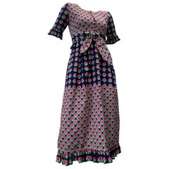 1960 Oscar de la Renta Navy & Pink Cotton Flower Print Dress W/ Tie & Pockets