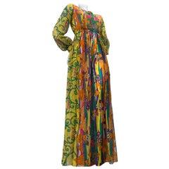 1960 Oscar de la Renta Silk Print Chiffon Palazzo Pant Jumpsuit W/ Silk Overlay