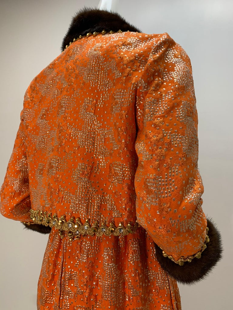 1960 Oscar DeLaRenta Tangerine Silk Brocade Cocktail Dress Ensemble W/Mink Trim  For Sale 7