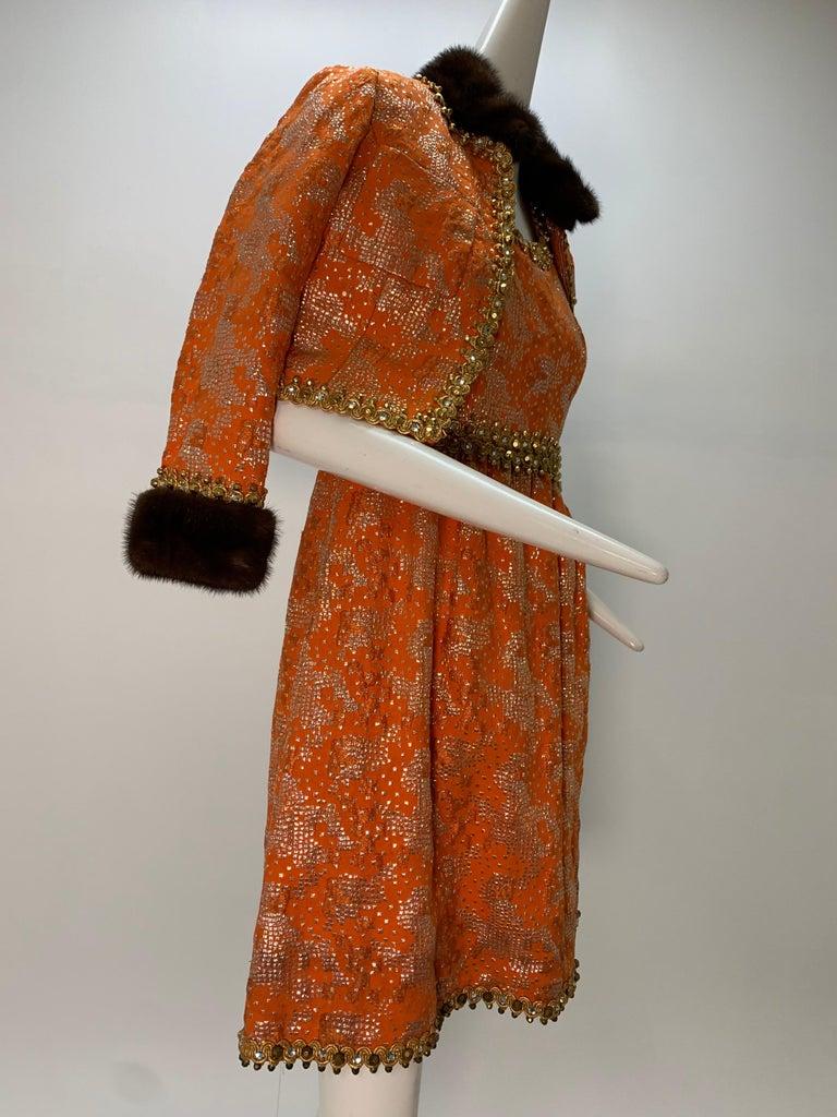 1960 Oscar DeLaRenta Tangerine Silk Brocade Cocktail Dress Ensemble W/Mink Trim  For Sale 8