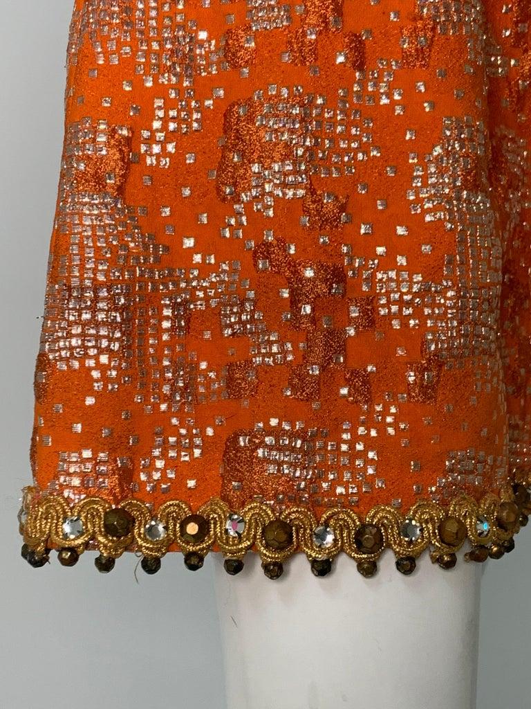 1960 Oscar DeLaRenta Tangerine Silk Brocade Cocktail Dress Ensemble W/Mink Trim  For Sale 9