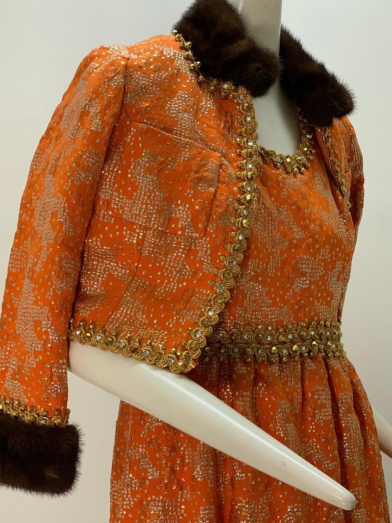 1960 Oscar DeLaRenta Tangerine Silk Brocade Cocktail Dress Ensemble W/Mink Trim  For Sale 10