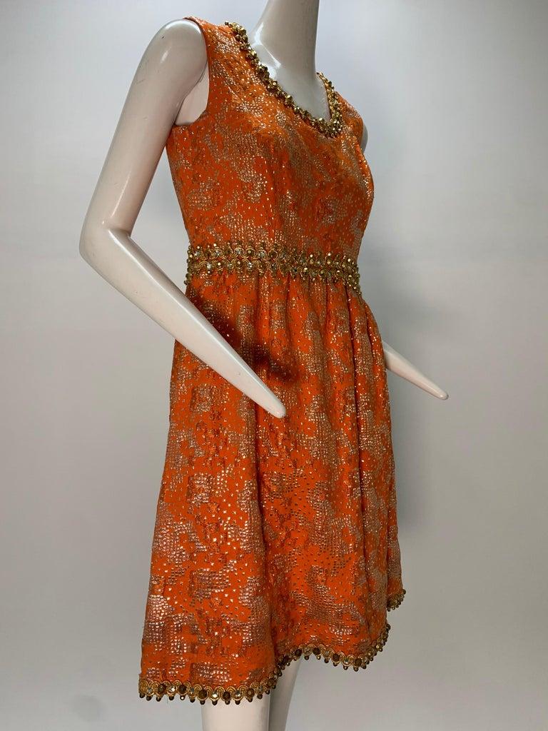 1960 Oscar DeLaRenta Tangerine Silk Brocade Cocktail Dress Ensemble W/Mink Trim  For Sale 11