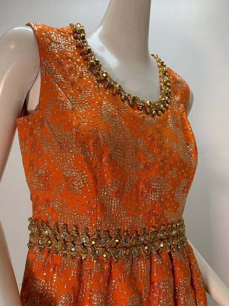 1960 Oscar DeLaRenta Tangerine Silk Brocade Cocktail Dress Ensemble W/Mink Trim  For Sale 12
