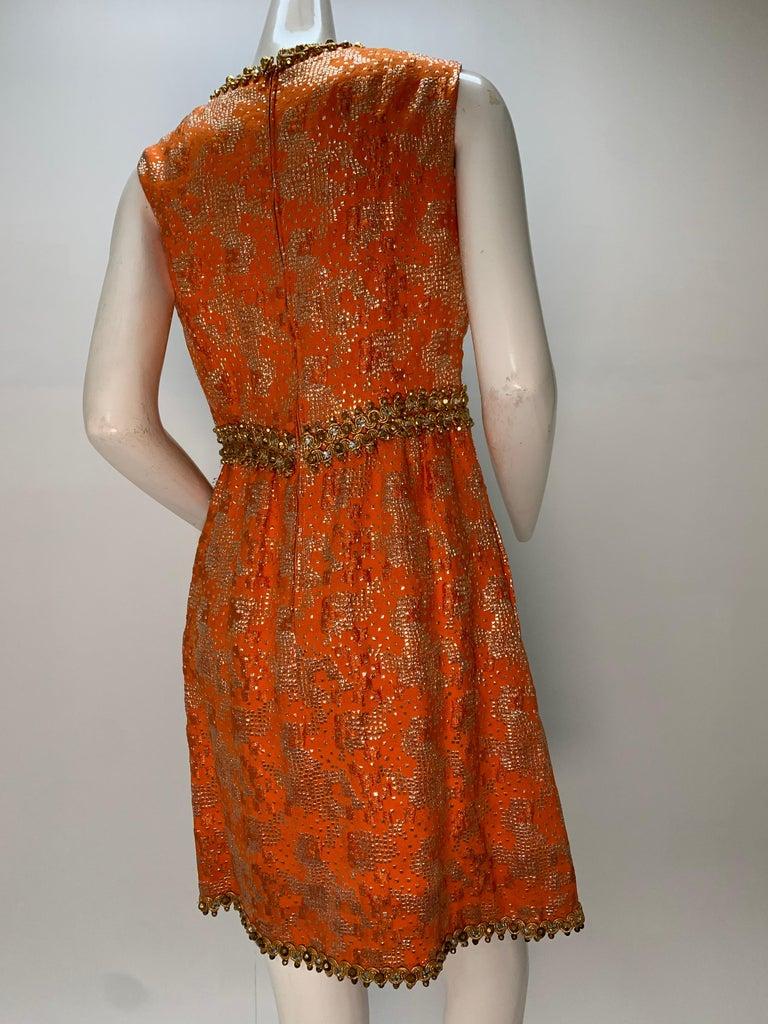 1960 Oscar DeLaRenta Tangerine Silk Brocade Cocktail Dress Ensemble W/Mink Trim  For Sale 13