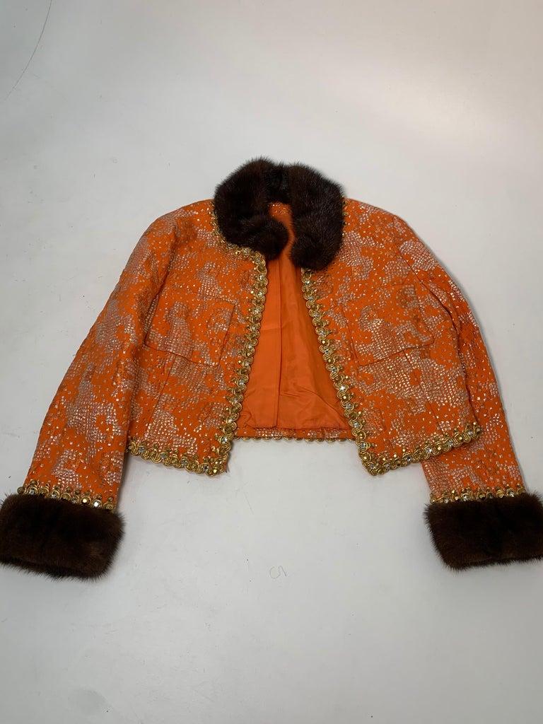1960 Oscar DeLaRenta Tangerine Silk Brocade Cocktail Dress Ensemble W/Mink Trim  For Sale 14