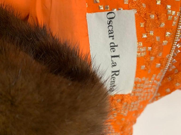 1960 Oscar DeLaRenta Tangerine Silk Brocade Cocktail Dress Ensemble W/Mink Trim  For Sale 15