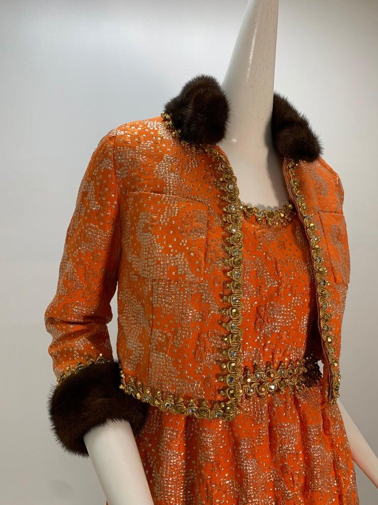 1960 Oscar DeLaRenta Tangerine Silk Brocade Cocktail Dress Ensemble W/Mink Trim  In Excellent Condition For Sale In San Francisco, CA