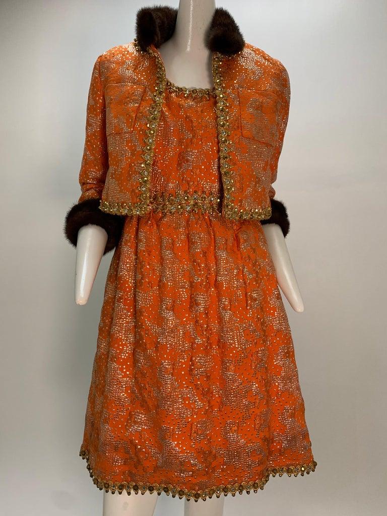 Women's 1960 Oscar DeLaRenta Tangerine Silk Brocade Cocktail Dress Ensemble W/Mink Trim  For Sale