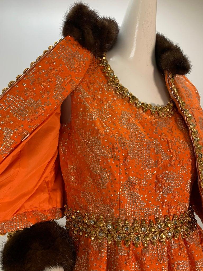 1960 Oscar DeLaRenta Tangerine Silk Brocade Cocktail Dress Ensemble W/Mink Trim  For Sale 1