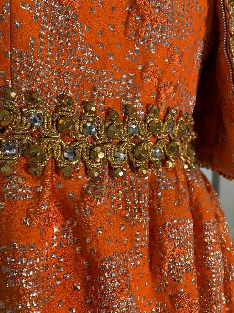 1960 Oscar DeLaRenta Tangerine Silk Brocade Cocktail Dress Ensemble W/Mink Trim  For Sale 2