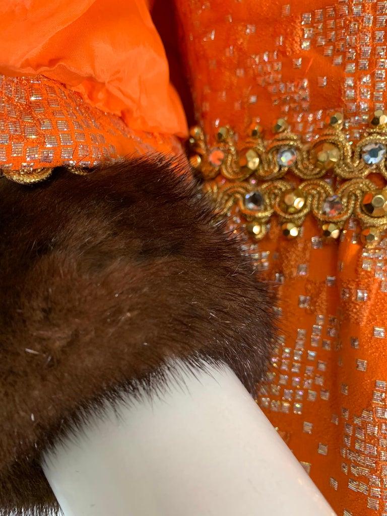 1960 Oscar DeLaRenta Tangerine Silk Brocade Cocktail Dress Ensemble W/Mink Trim  For Sale 3