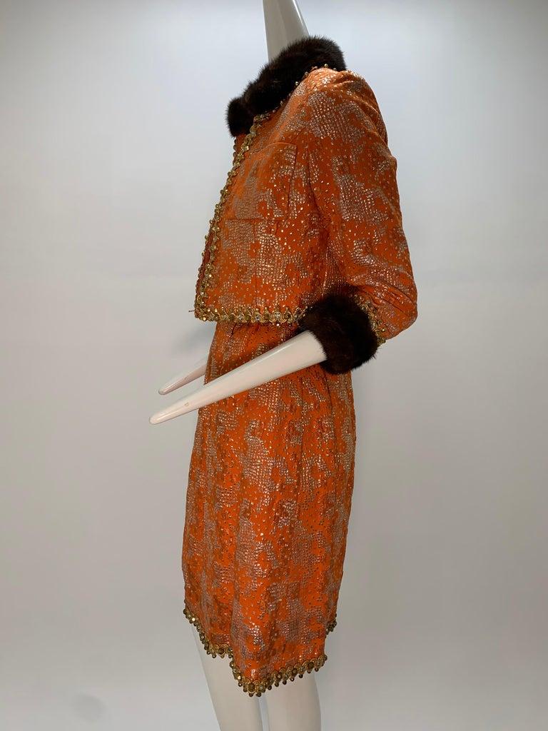 1960 Oscar DeLaRenta Tangerine Silk Brocade Cocktail Dress Ensemble W/Mink Trim  For Sale 4