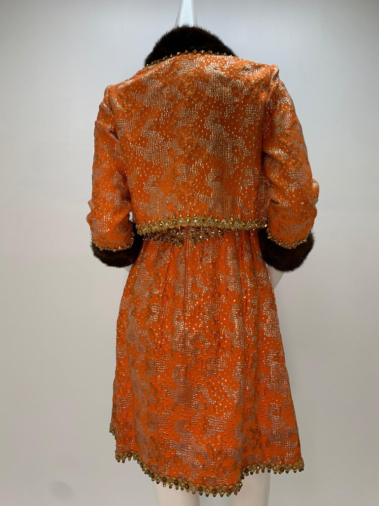1960 Oscar DeLaRenta Tangerine Silk Brocade Cocktail Dress Ensemble W/Mink Trim  For Sale 5
