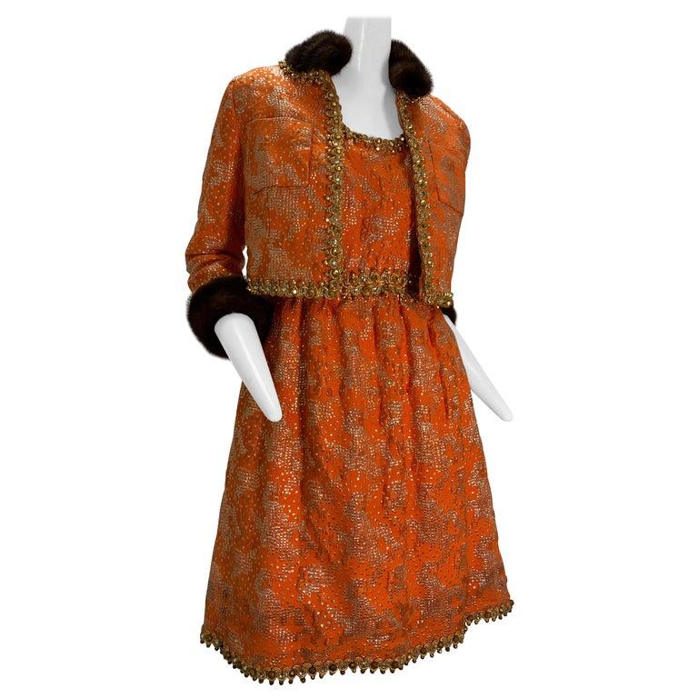 1960 Oscar DeLaRenta Tangerine Silk Brocade Cocktail Dress Ensemble W/Mink Trim  For Sale