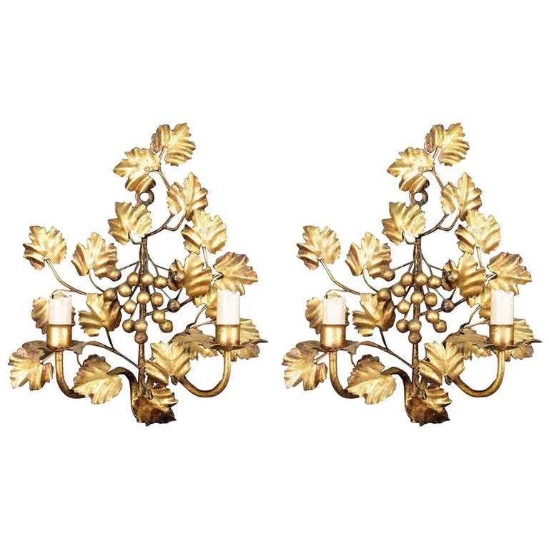 """1960 Pair of """"bunch of grapes"""" Wall Lights from Maison FlorArt For Sale"""