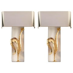 1960 Pair of Gilded and Silvered Bronze Wall Lights from Maison Charles