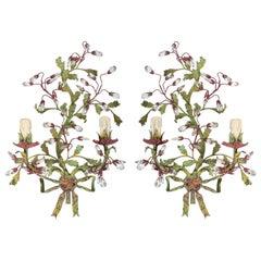 1960 Pair of Maison Roche Crystal Flower Bouquet Sconces