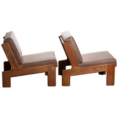 1960, Pair of Oak and Leather Cubist Lounge Chairs by Esko Pajamies for Asko