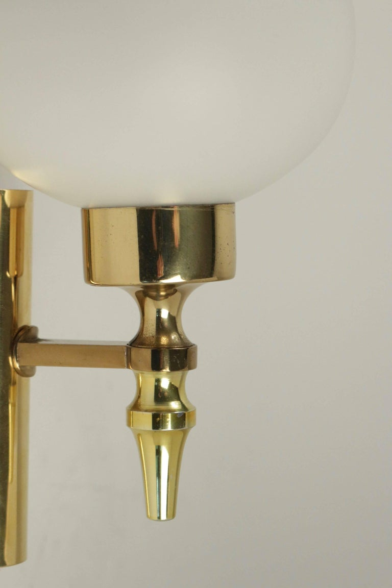 Italian 1960 Pair of Sconces Stilnovo Brass and Opaline For Sale