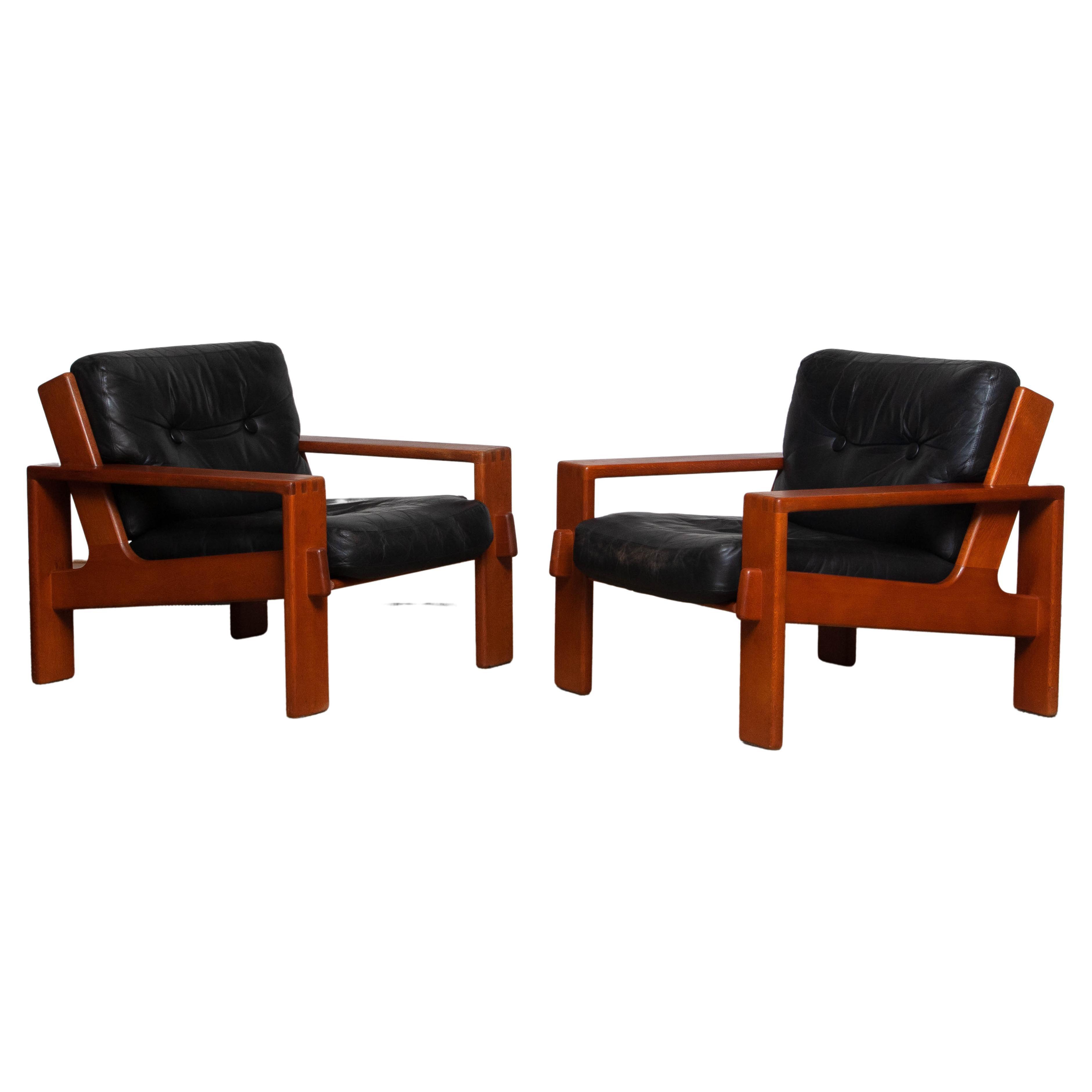 1960 Pair Teak and Black Leather Cubist Lounge Chair by Esko Pajamies for Asko