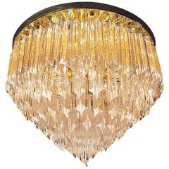 1960 Germany Palwa Glamorous Flush Mount Chandelier Crystal Prism & Gilt-Brass