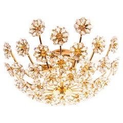 1960 Palwa Glamorous Jewel Flush Mount Swarovski Crystal & Gilt-Brass Chandelier