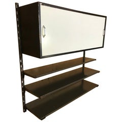 1960 Pilastro Tomado Retro Industrial Wall Unit a Large Cupboard and 3 Shelves