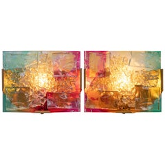 1960 RAAK 'Chartres' Wall Sconce Glass & Brass by Willem van Oyen, Set of 2