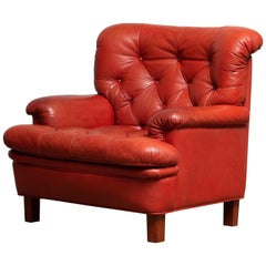 1960 Red Buffalo Leather Easy or Lounge or Armchair by Arne Norell Model Jupiter