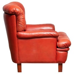 1960 Red Buffalo Leather and Quilted Easy or Lounge or Armchair by Arne Norell