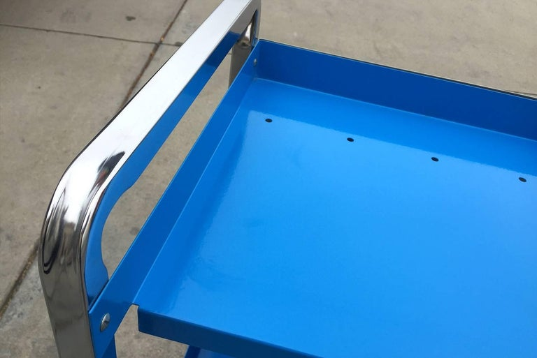 1960 Retro Stainless Steel Cart, Refinished In Excellent Condition For Sale In Alhambra, CA