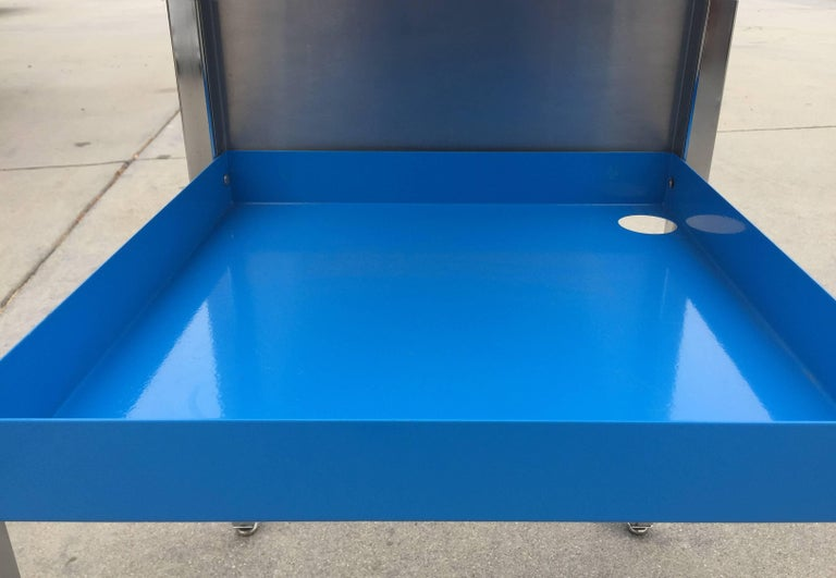 Mid-20th Century 1960 Retro Stainless Steel Cart, Refinished For Sale