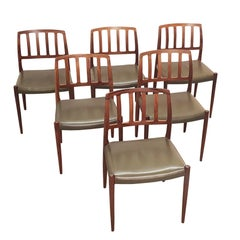 1960 Rosewood Niels Møller Dining Chairs n° 83, Set of Six