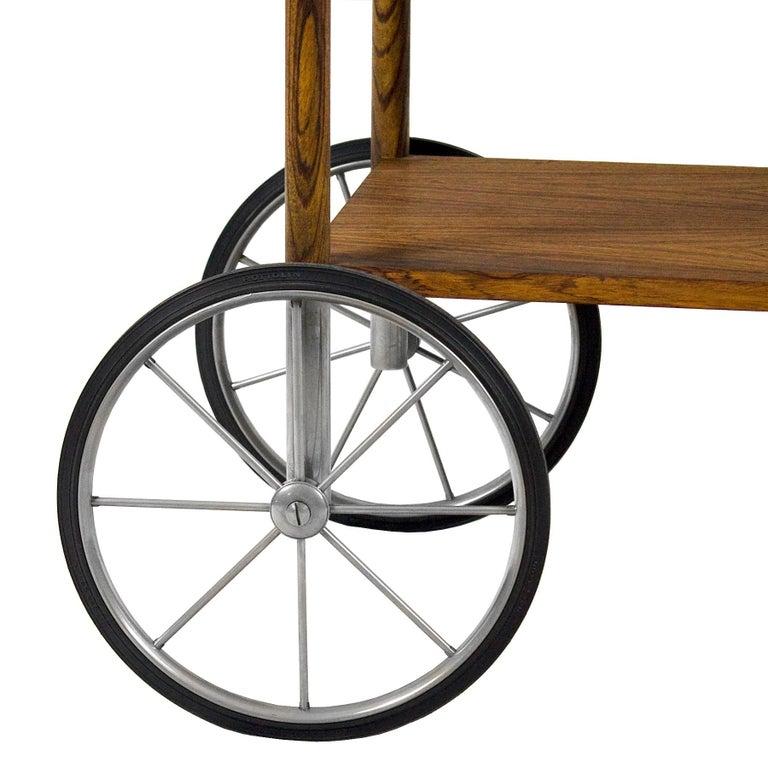 1960s Bar Cart by Walter Wirz, Zebra Wood, Chrome Plated Brass, Germany For Sale 5