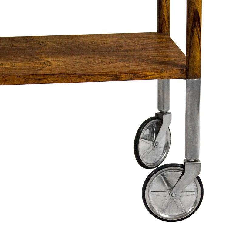 1960s Bar Cart by Walter Wirz, Zebra Wood, Chrome Plated Brass, Germany For Sale 6