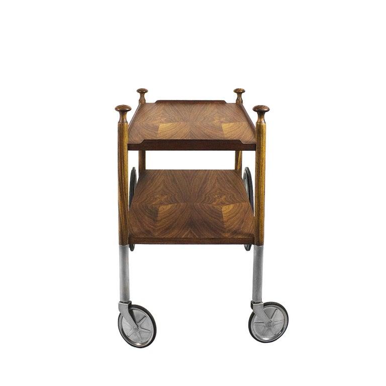 Mid-Century Modern 1960s Bar Cart by Walter Wirz, Zebra Wood, Chrome Plated Brass, Germany For Sale