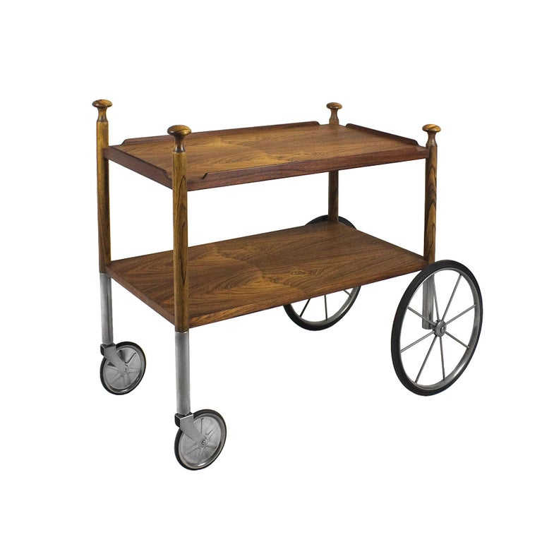 1960s Bar Cart by Walter Wirz, Zebra Wood, Chrome Plated Brass, Germany In Good Condition For Sale In Barcelona, ES