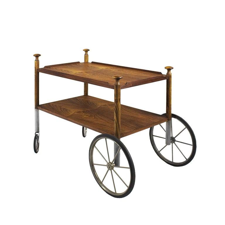 1960s Bar Cart by Walter Wirz, Zebra Wood, Chrome Plated Brass, Germany For Sale 1