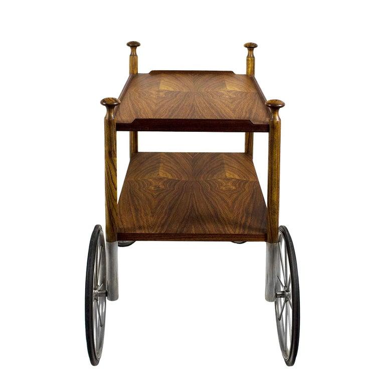 1960s Bar Cart by Walter Wirz, Zebra Wood, Chrome Plated Brass, Germany For Sale 2