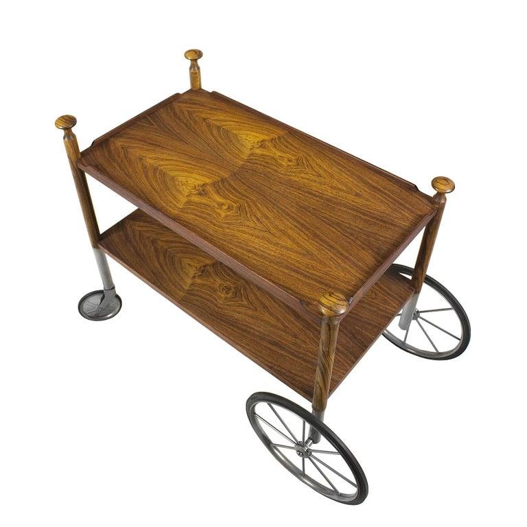 1960s Bar Cart by Walter Wirz, Zebra Wood, Chrome Plated Brass, Germany For Sale 3