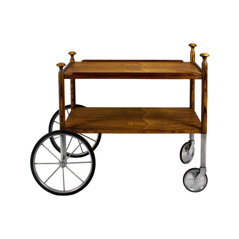 1960s Bar Cart by Walter Wirz, Zebra Wood, Chrome Plated Brass, Germany For Sale