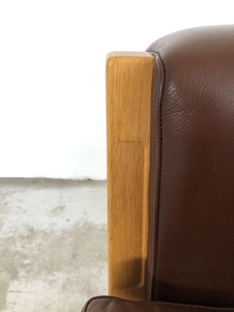 1960s Danish Hans J. Wegner Three-Seat Sofa in Oak and Brown Leather by GETAMA For Sale 1