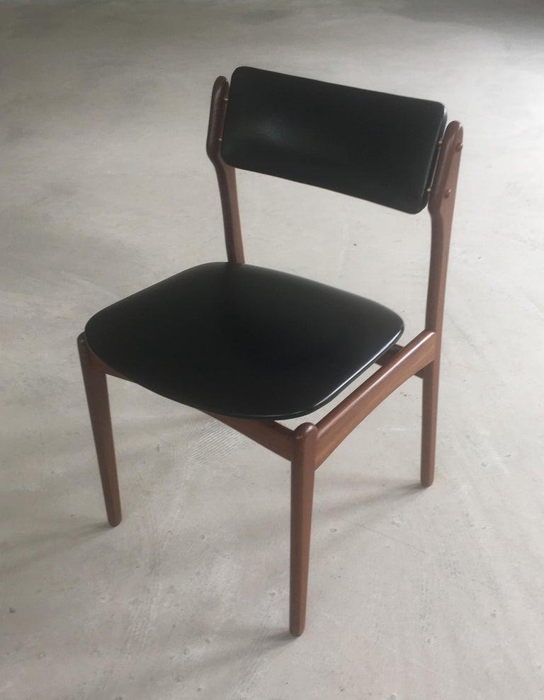Scandinavian Modern 1960s Erik Buch Teak Dining Chairs Inc. Reupholstery For Sale