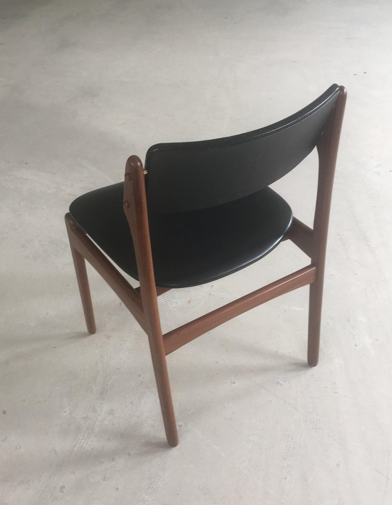 1960s Erik Buch Teak Dining Chairs Inc. Reupholstery In Good Condition For Sale In Knebel, DK